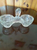 salière double en verre vintage