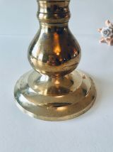 Pique cierge ancien en laiton doré