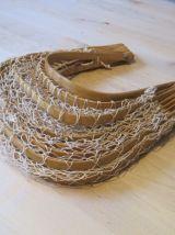 Panier filet pliable en fil de coton et bambou années 70