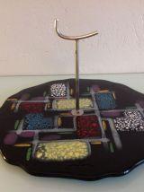 Plateau serviteur de table en ceramique polychrome/ vintage
