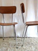 Chaise métal chromé et bois – circa 60 – (Lot de 3)