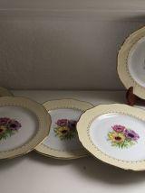 Lot de 6 assiettes plates 60'S décor floral