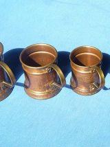 4 pichets  metal cuivré, vintage
