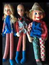 Lot poupées et clown vintage