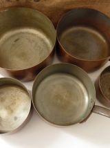 Lot de 5 casseroles française en cuivre massif étamé