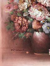 Tableau ancien huile sur toile bouquet rose