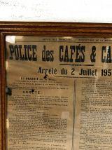 Affiche de Police des cafés et Cabarets vintage 1956
