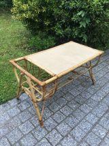 Table basse vintage en bambou & rotin 1960