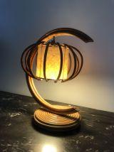 Lampe de chevet en rotin 1950 vintage