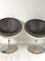 Paire de fauteuils coques et pieds tulipe vintage 70's