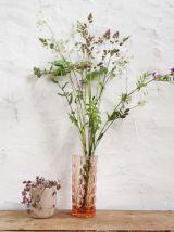 Vase à facettes vintage rose