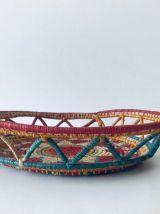 Panière bohème colorée en fibre naturelle