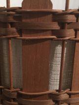 Suspension en bois et rotin années 60