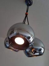 suspension 3 boules chromées et câbles textile noir