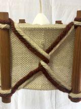 Suspension bois, lin et laine années 70
