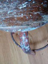 Tabouret d'école ou d'atelier en métal et bois