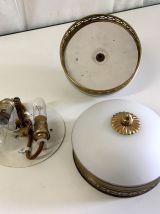 Plafonniers laiton et opaline (la paire) – années 60