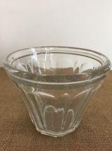 Set de deux anciens pots à confiture, verre épais bullé