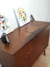 Commode vintage pieds compas,meuble pour vinyles ou hifi