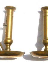 paire  de chandeliers a poussoirs ,laiton vintage