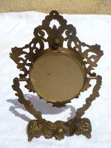 petit miroir  psyché  en laiton, vintage