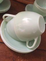 Service 6 tasses à café à la couleur mint des années 60.