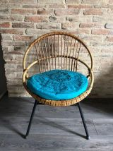Fauteuil coquille en rotin vintage