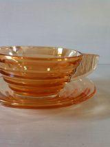 Service à café vintage en verre irisé orange