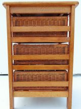 Meuble à tiroirs bois et osier