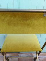Chaise Vintage Design Pliante Velours et Acier Doré (1970)