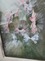 Tableau ancien  peinture sur plaques de verre multicouches
