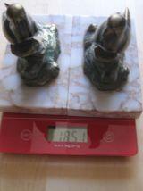 2 serres livres decor de perruche sur socle marbre art déco