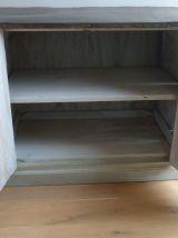 Buffet ancien bois et plateau métal - Meuble de métier