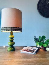Grande lampe années 70 verte en verre double