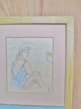 Portrait figurative, Scene de Plage, Dessin