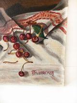 Tableau huile sur toile, nature morte cerises, signée