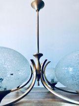 Grand lustre art déco 6 feux, doré et verre granité