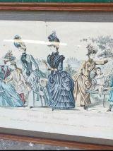Lot d'ancienne gravure de mode époque