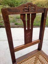 2 chaises bois et cannage