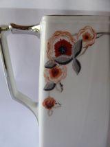 Cafetière carrée et sucrier porcelaine décorée