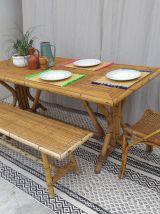 Table à manger rotin vintage années 70