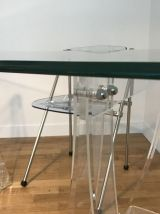 Table de Bureau en verre et plexiglass Marais International