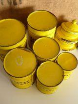 Lot de 6 pots à épices tôle émaillée jaune, pot de cheminé,