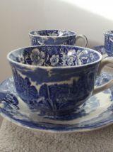 service a café anglais porcelaine bleu