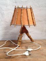 Lampe en rotin années 70