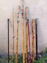 Lot de canne a peche en bambou avec molinet