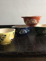 Lot de 4 bols en terre cuite émaillée Alsaciens