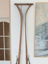 Paire de skis alpins bois début XXème