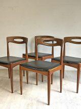 Ensemble de 4 chaises scandinaves Samcom en Teck et simili-c