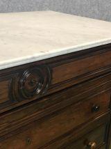 Commode XIXème en palissandre et marbre blanc